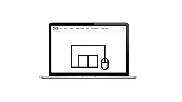 Notebook so stránkou IKEA zobrazujúcou stránky so službou Klikni a vyzdvihi.