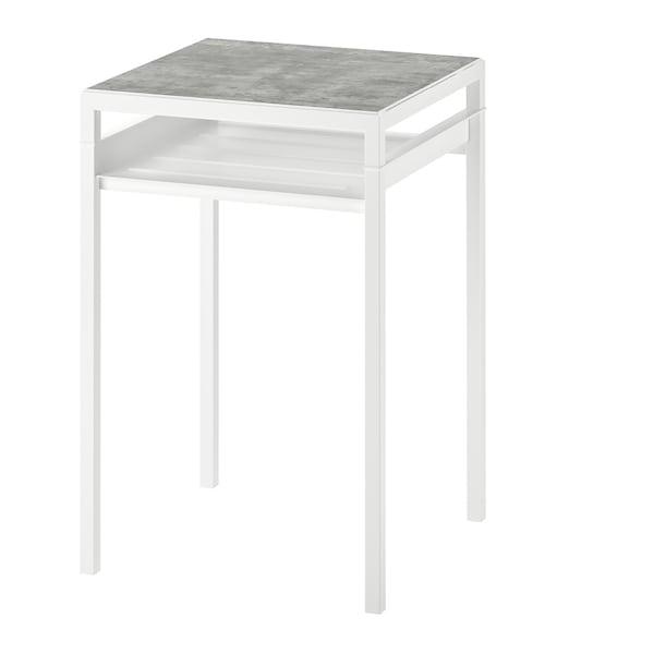 NYBODA Odkládací stolek s oboustr. deskou, světle šedá imitace betonu, bílá, 40x40x60 cm.