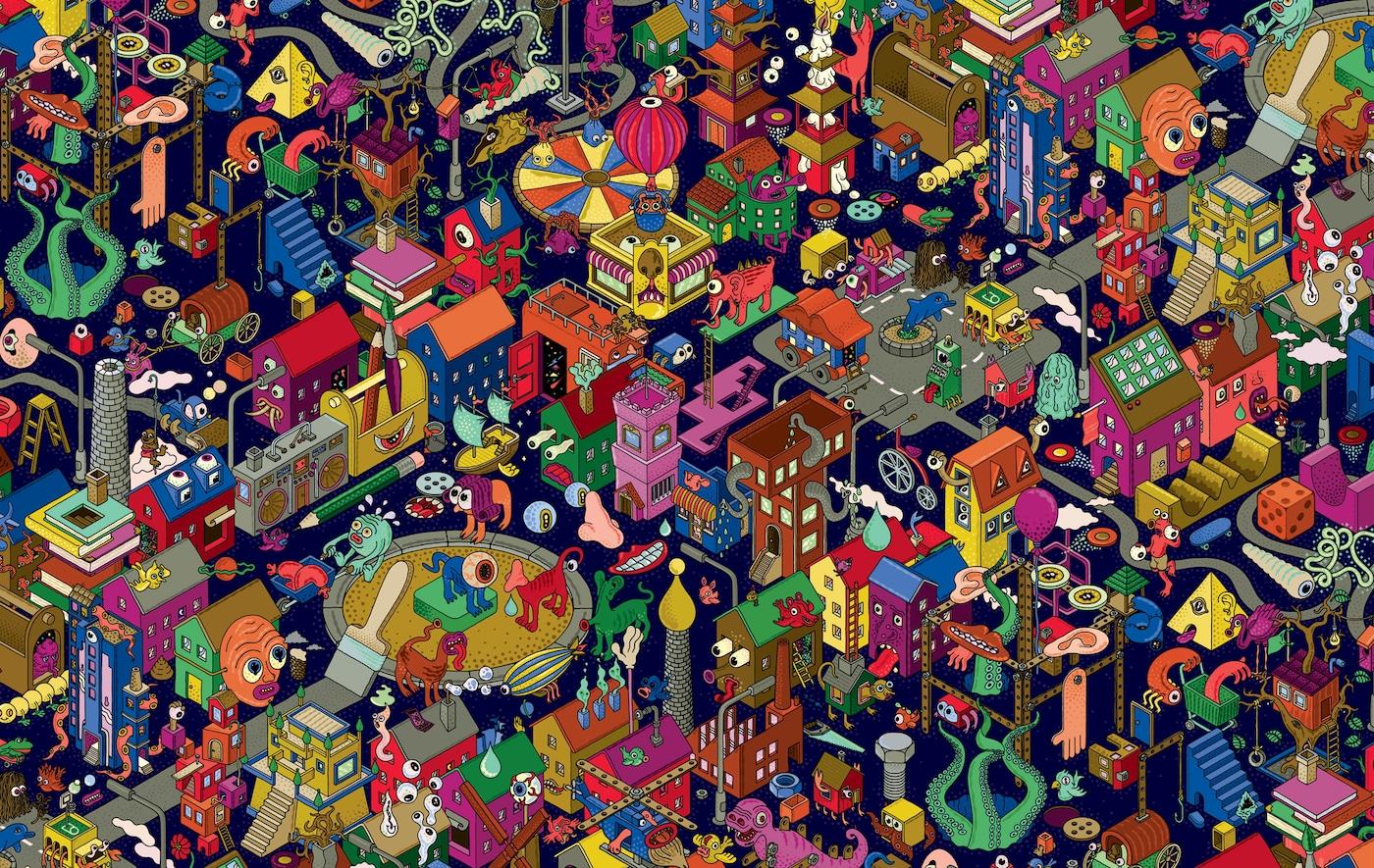 O ilustrare colorată a unui oraș fantastic.