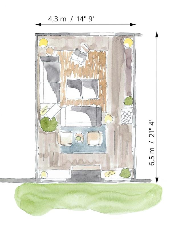 O schiță color a amplasării mobilei și spațiilor de depozitare pentru un living al unei familii mari.