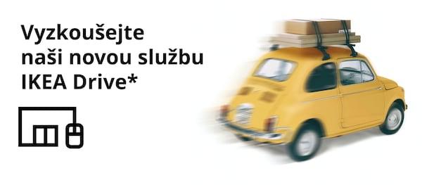 """Obrázek žlutého auta s nákupem na střeše. Vedle něho ikona Click and Collect s textem: """"Vyzkoušejte naši novou službu IKEA Drive."""