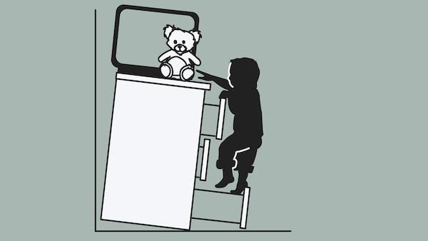 Obrázok skrinky so zásuvkami, na nej je položený televízor a hračka, pričom skrinka nie je pripevnená k stene a prevracia sa na dieťa, ktoré sa na ňu snaží vyliezť.