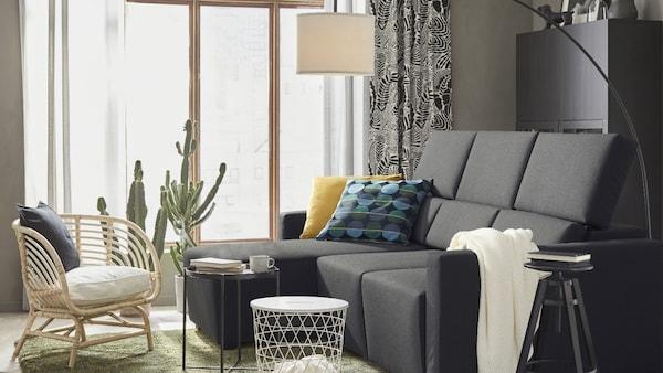ODENSLUNDA Sofá 3 plazas, +chaiselongue/Vissle gris oscuro