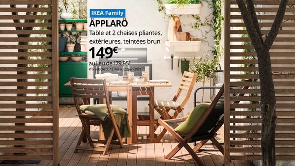 offre ikea family table de jardin rabattable en bois avec chaises en bois