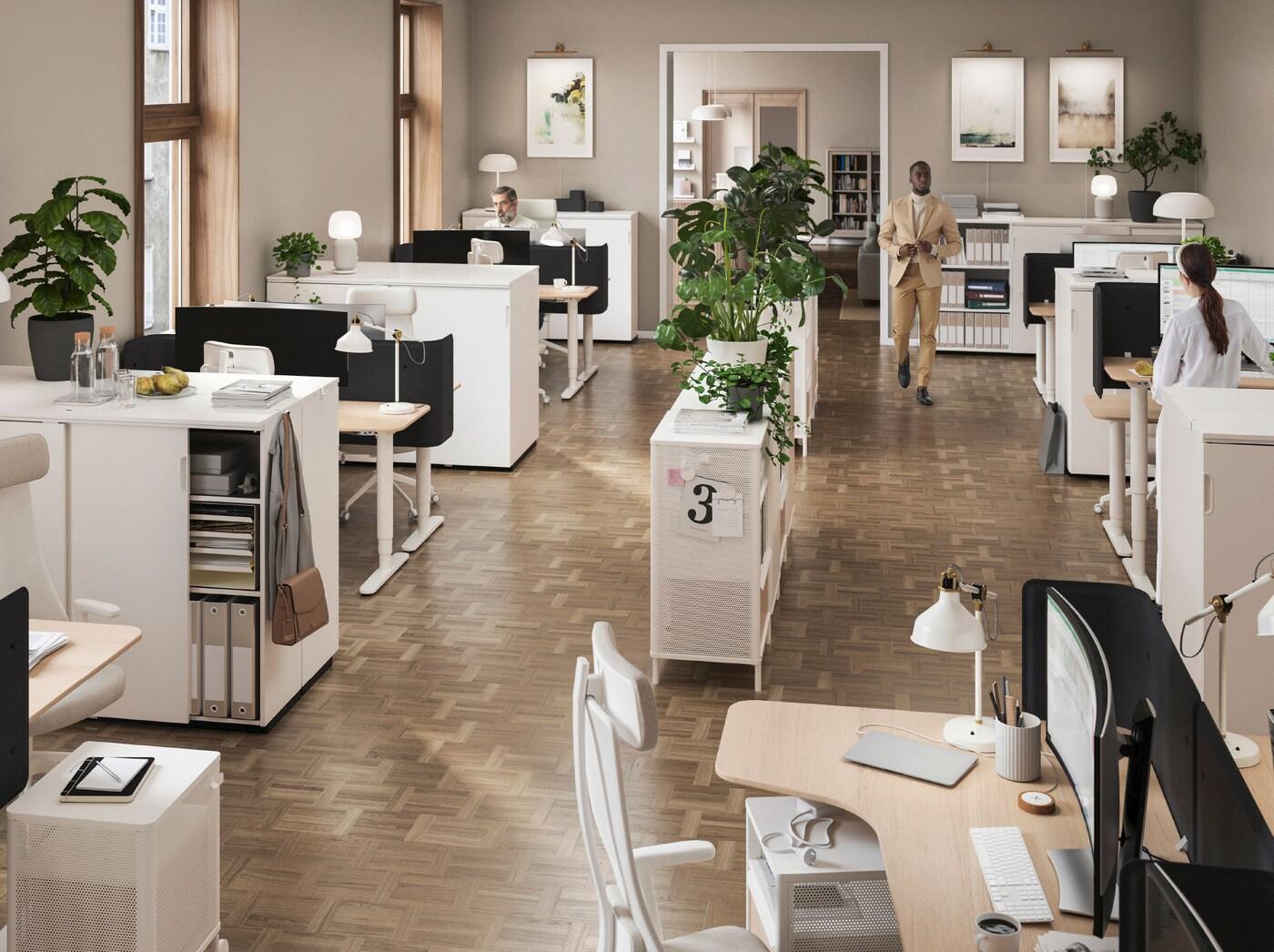 Офис с открытой планировкой с рабочими местами по периметру и стеллажами в центре помещения. На стеллажах стоят цветы в кашпо, на краю каждого стола дополнительный источник света.