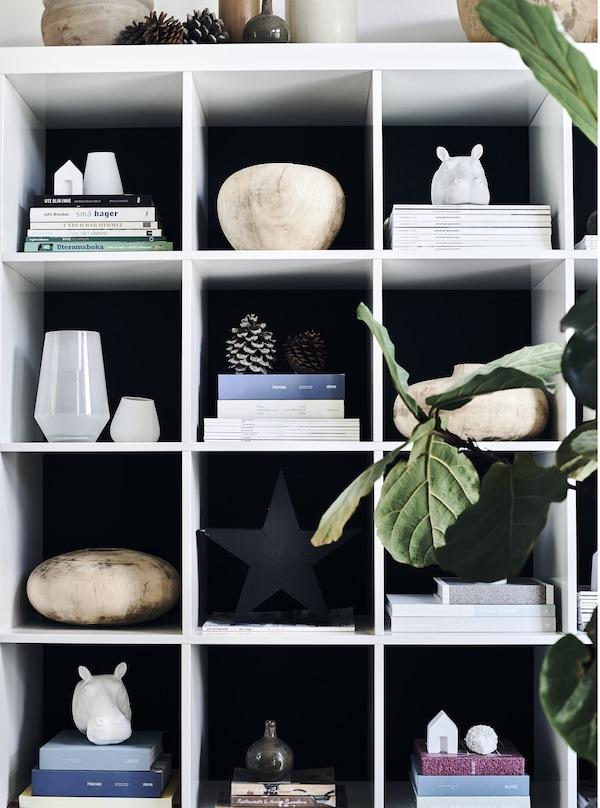 Oggetti e riviste sono organizzati su uno scaffale - IKEA
