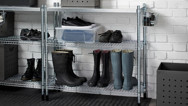OMAR metal shelving units with various shoes sitting on its shelves