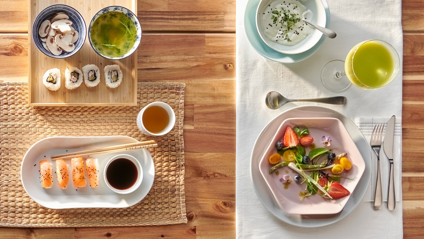One table made in two ways, one for sushi with a white, oval plate and the other for a salad with a pink hexagonal plate.