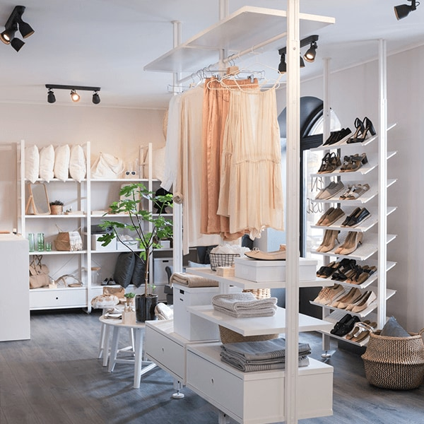 Open clothes & shoe storage