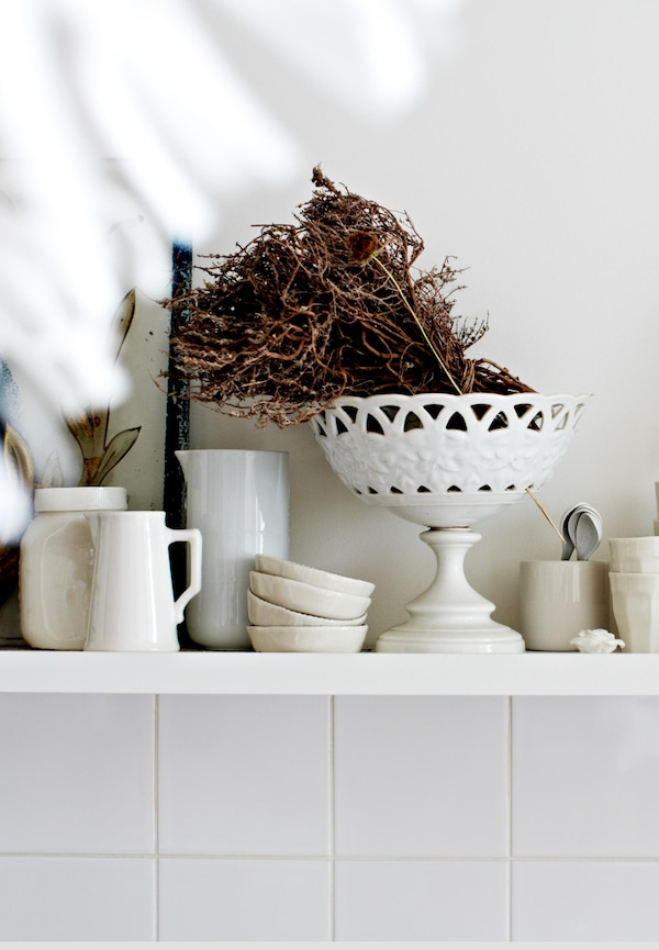 Open shelving is great for displaying your kitchen ware.