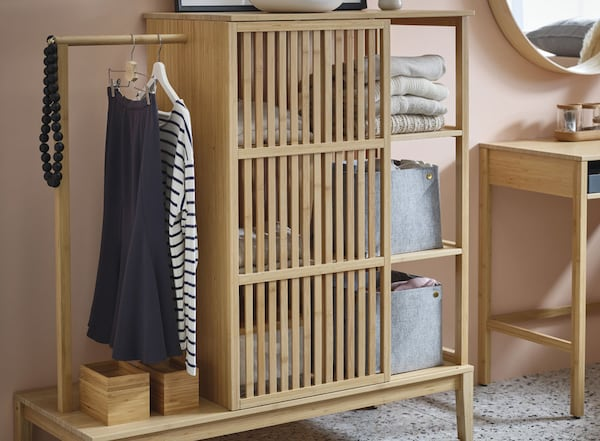 "Open wardrobe with sliding door, bamboo, 47 1/4x48 3/8 "" (120x123 cm)"