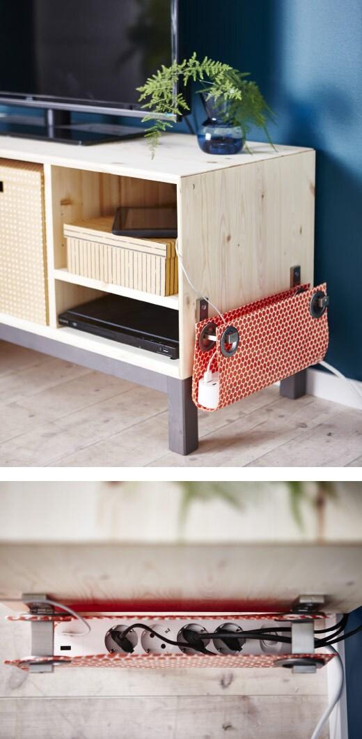Ordonnez votre bureau ou votre meuble-télé en dissimulant les câbles dans une poche en tissu faite main.