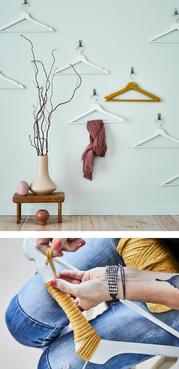 Organise and create a visual impact at the same time, blending form and function with an art wall of hangers! IKEA has a broad range of clothes hangers, such as BUMERANG hangers in white.