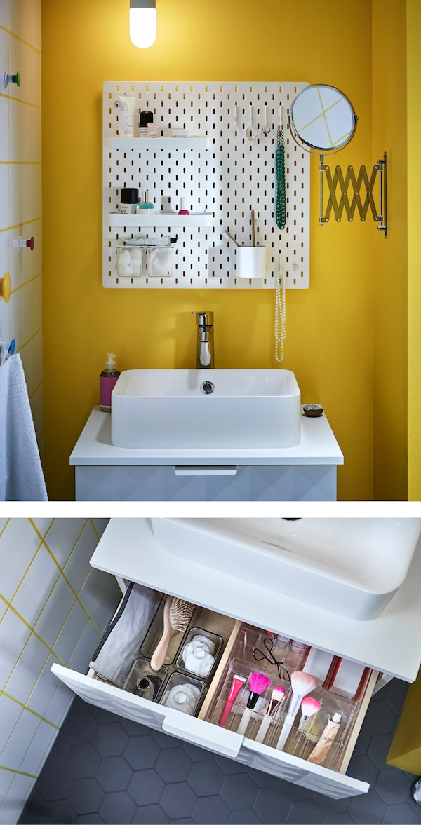 Organise and maximise space when sharing a bathroom! SKÅDIS pegboard helps to keep the sink area tidy (this couple have a shelf each and share a toothbrush mug). A mirror to the side can be pulled out and in (FRÄCK).