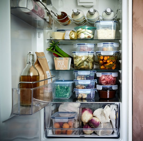 Organised frige with IKEA 365+ food containers