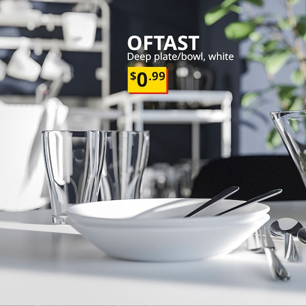 "Our lowest price - OFTAST Deep plate/bowl, white 8 "" (20 cm) $0.99"