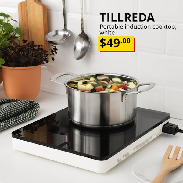 Our Lowest Price. TILLREDA Portable induction cooktop, white.