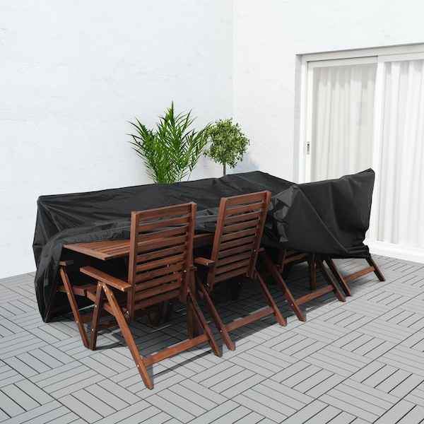 Outdoor dining set being covered