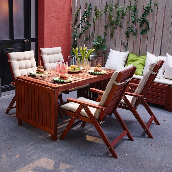 Outdoor scene, with ÄPPLARÖ furniture