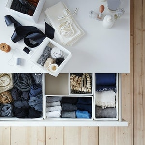 Overhead view of drawers with storage separation