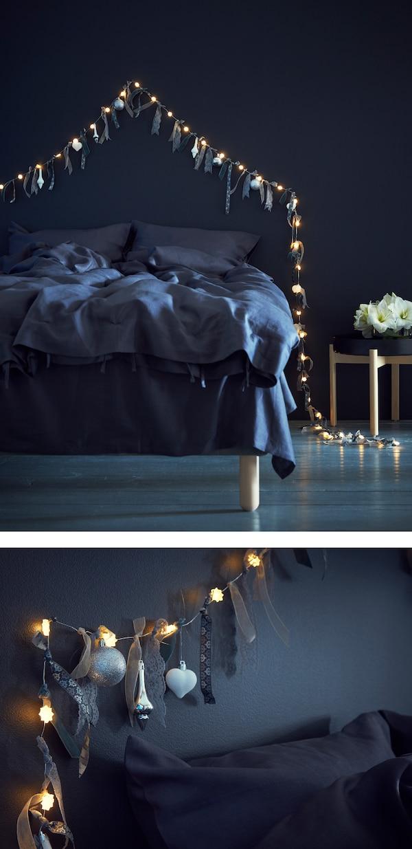 """""""Oživi"""" svoj rasvjetni lanac vezanjem vrpci i perja, pa ga objesi iznad uzglavlja svog kreveta."""