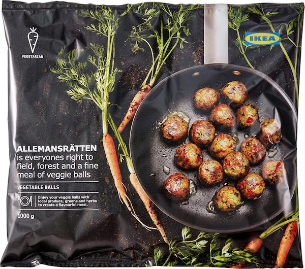 Pack shot of vegan veggie balls ALLEMANSRÄTTEN.