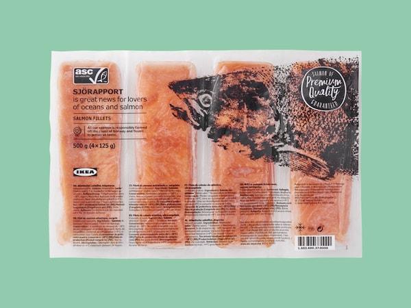 Packaged frozen salmon filets