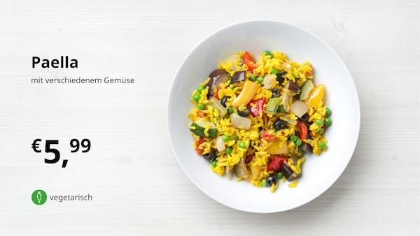 Paella mit verschiedenem Gemüse