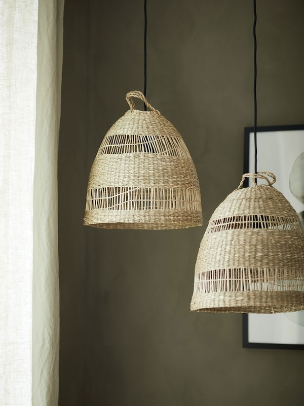 Pair of TORARED pendant seagrass lamp shades