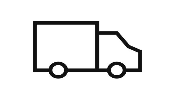 Pakaettiauto viivapiirroksena, toimitusikoni