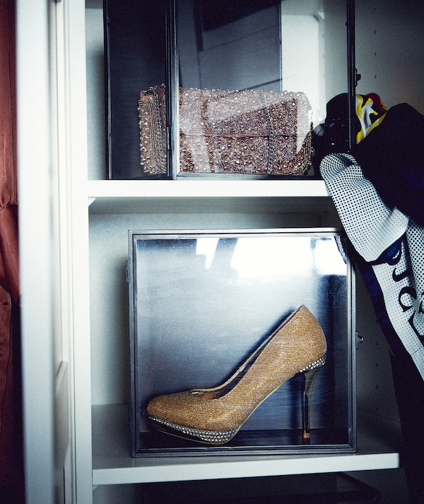 Part of wardrobe interior with shelves holding display boxes; one with a glittery handbag, the other a stiletto-heel shoe.