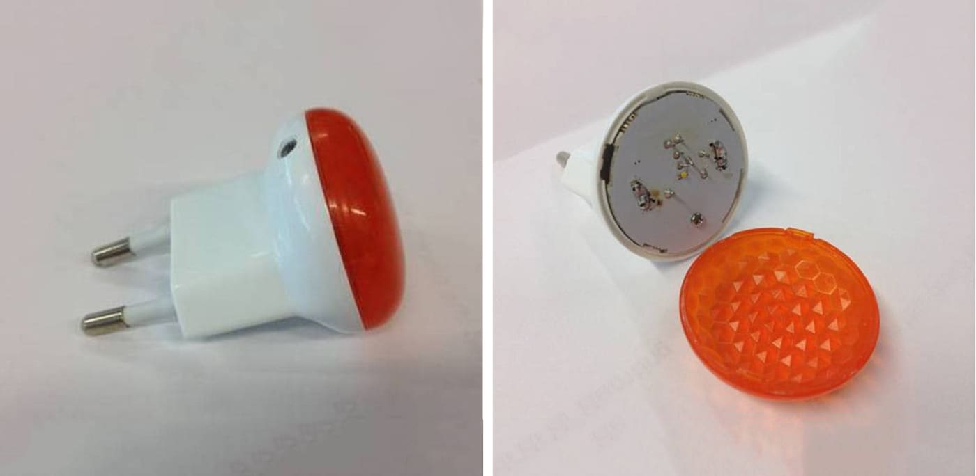 PATRULL nightlight highlighting how the lid is removed and risk of electric shock
