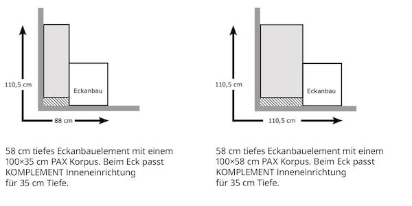 PAX Kleiderschrank mit 58 cm tiefem Eckanbauelement