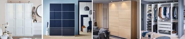 PAX Schranksystem mit den passenden Türen für jeden Geschmack - Schiebetüren, Drehtüren oder eine offene Aufbewahrungslösung