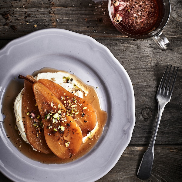 Pears gently poached in Earl Grey tea.
