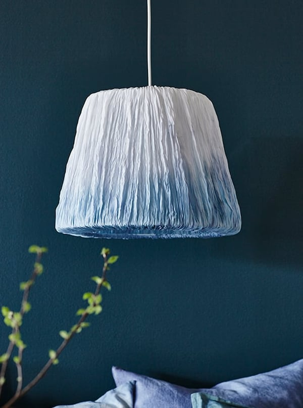 Pendant lamp with DIY shade made using Japanese dyeing techniques