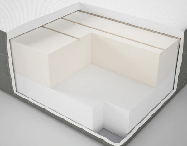 Пенополиуретановый матрас для двуспальной кровати с двумя слоями пенополиуретана различной жесткости.