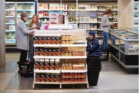 People shopping and working in Swedish Food Market