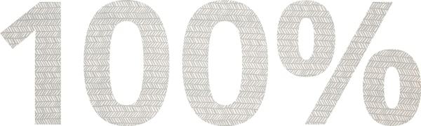 Percentuale 100% scritta con caratteri che imitano la texture di un tessuto – IKEA