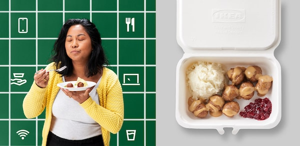 Person enjoying IKEA food and a container filled with IKEA meatballs, mashed potatoes and lingonberry sauce