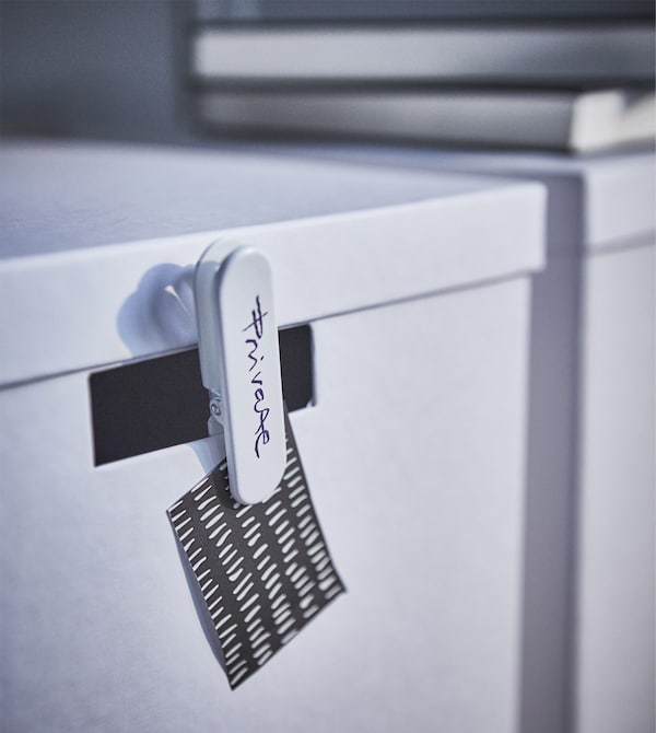 Personalise your modern home workspace. Just use a waterproof pen to write on clips that you attach to the cut out handles. Try the IKEA TJENA white storage boxes made from at least 80% recycled paper and designed using less raw materials.