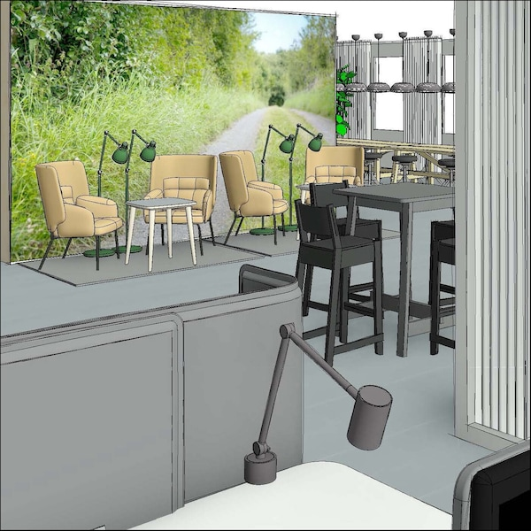 Perspective drawing. A true-to-life 3D view of the room.