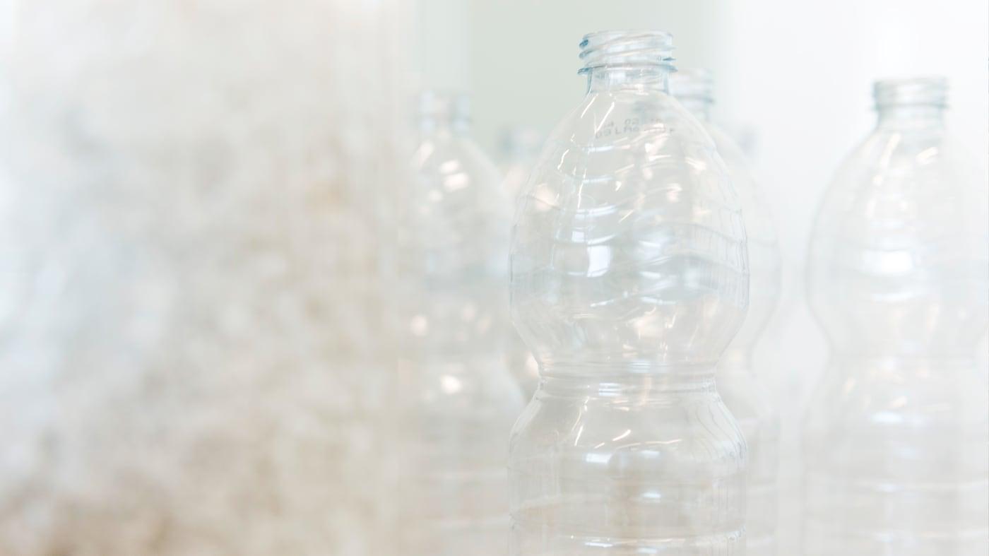 PET är ett återvunnet material som används i några av våra produkter.