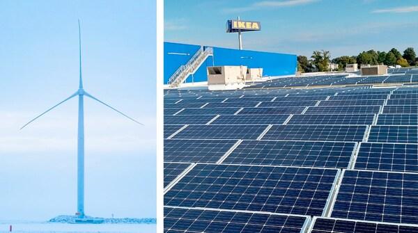 Photo montrant d'un côté une éolienne et des panneaux solaires utilisés par IKEA pour être prochainement autonome en termes d'énergie.