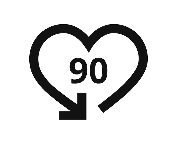 Pictogram of 90 day return policy for mattresses from IKEA.