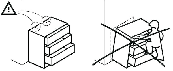 Pictogram of a falling chest of drawer.
