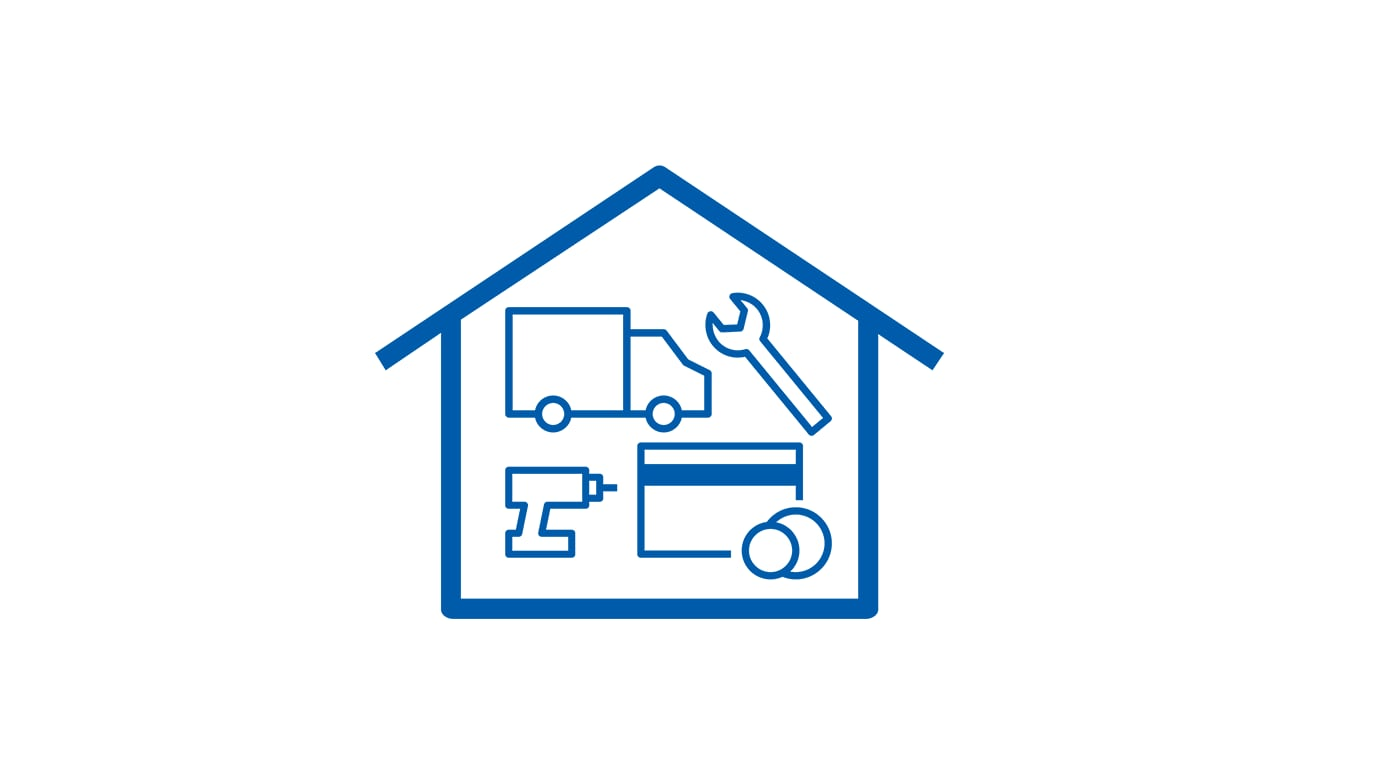 Pictogram of a house with a truck, wrench, drill and credit card inside.