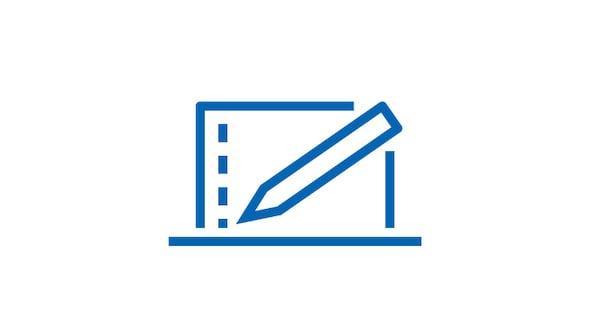 صورة توضيحية لحاسوب محمول وقلم.