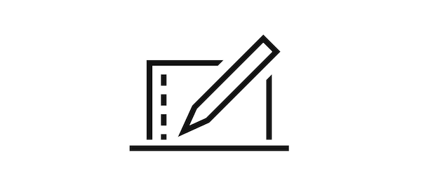 Pictogram of a laptop and a pencil