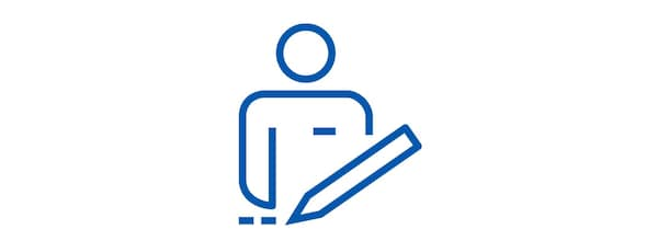 Pictogram of a man and a pencil